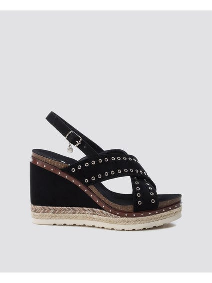 Black Cross Strap Wedges Sandals
