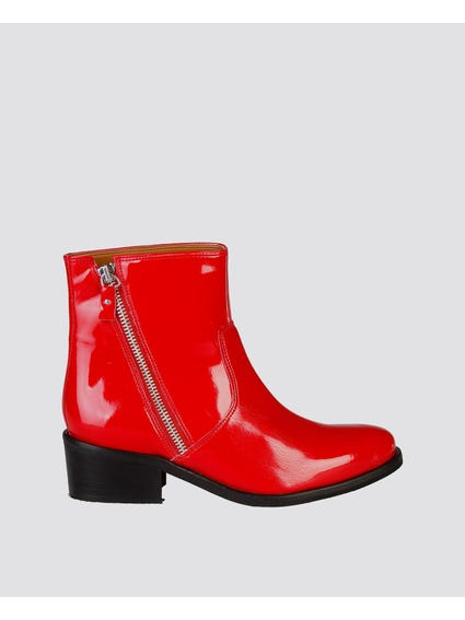 Red Claralie Zip Ankle Boots