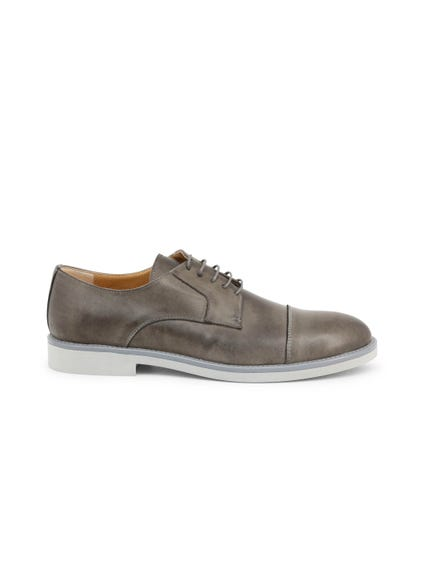 Grey Round Toe Leather Lace Up Shoes