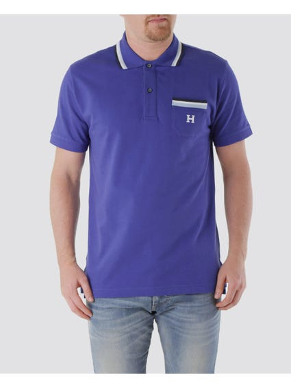 Blue H Logo Pocket Design Polo Shirt