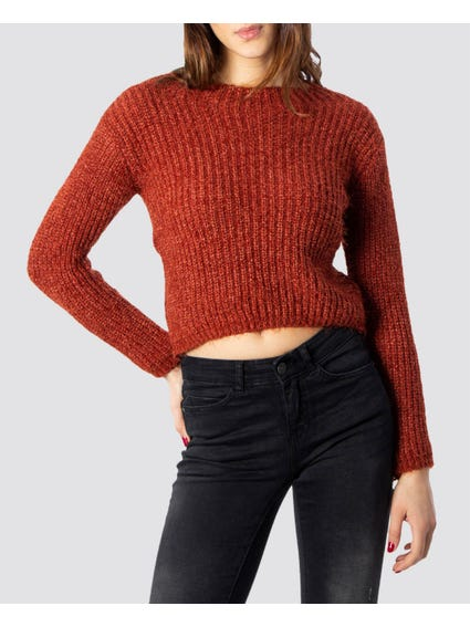 Red Fluffy Cropped Knitwear