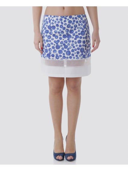 Mesh Hem Printed Skirt