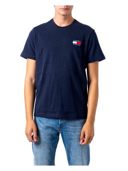 Blue Crew Neck Embordered T-Shirt