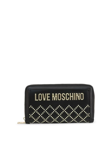Black Full Zipper Studs Wallet