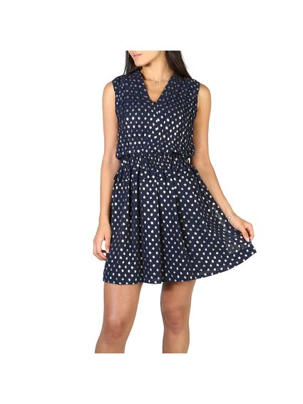 V Neck Polka Dots Dress