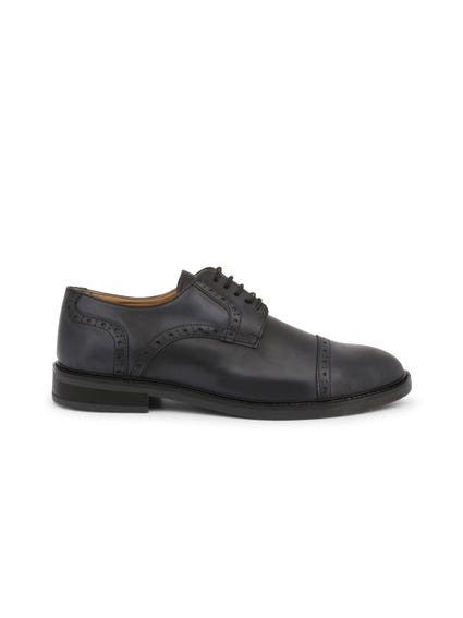 Black Round Toe Leather Lace Shoes