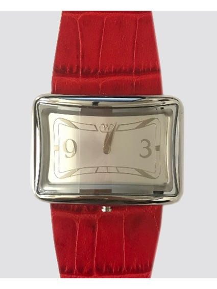 Rosso Leather Strap Analog Watch