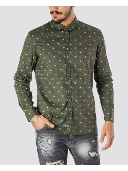 Green Printed Long Sleeves Shirt