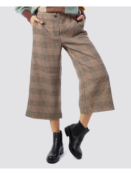 Checked Printed Wide Trouser