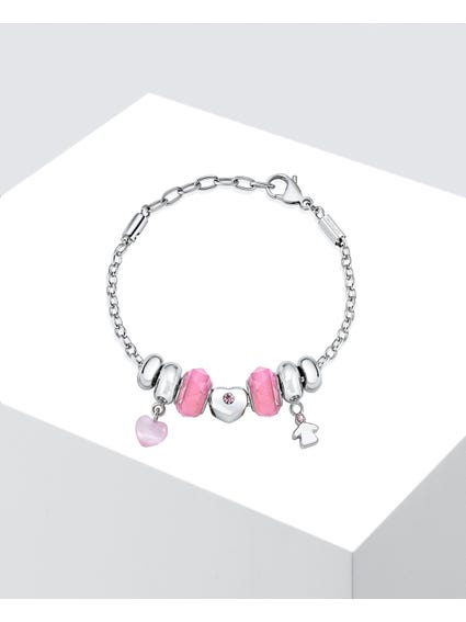 Silver Stainless Steel Charm Bracelet