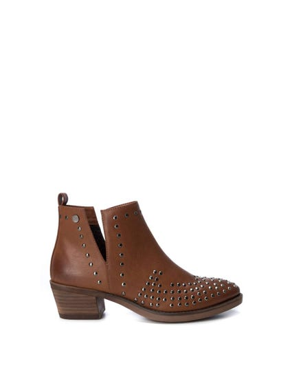 Brown Studs Leather Ankle Boots
