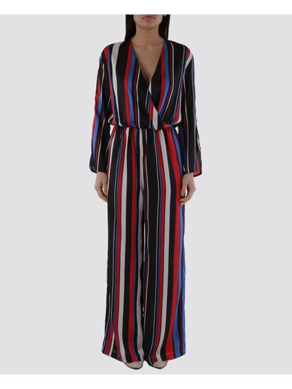 Fitted Waist Striped Jumpsuit