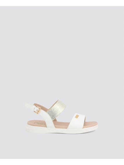 White Single Strap Kids Sandals