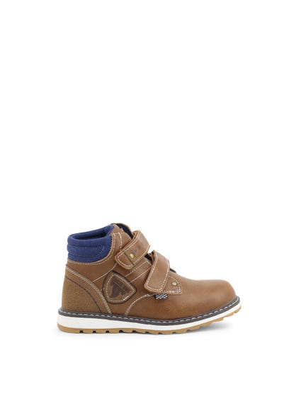 Brown Velcro Strap Kids Ankle Boots