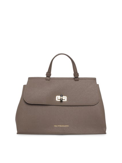 Brown Leather Strap Hand Bag