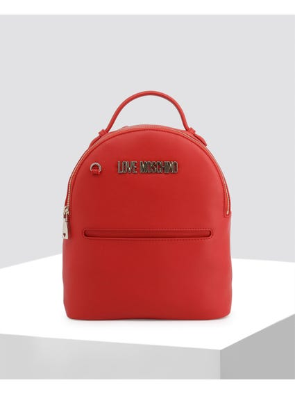 Red Charm Leather Backpack