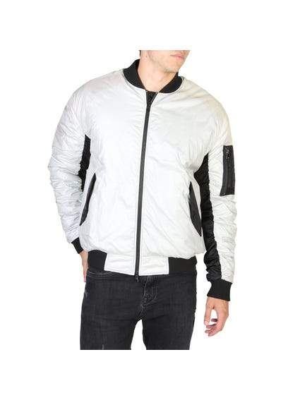 White Quilted Bomber Jacket