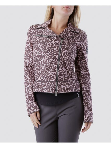 Brown Floral Pointed Collar Jacket