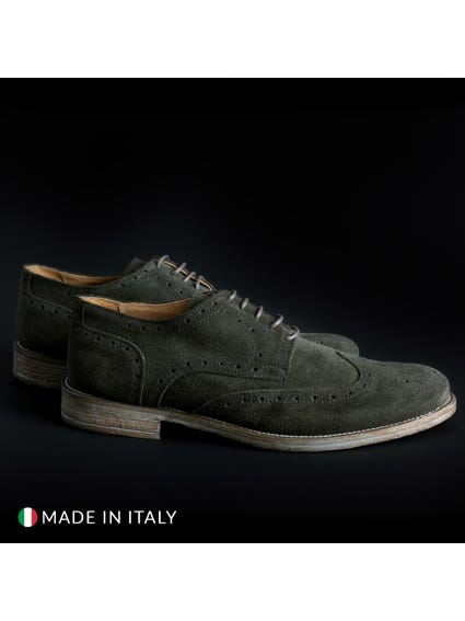 Green Suede Brogue Lace Up Shoes