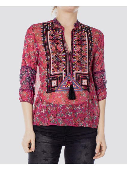 Allover Floral Print Mesh Blouse
