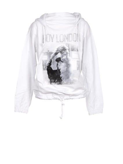 Hoodie Printed Drawstring  Sweatshirt