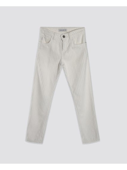 White Pleated Top Button Kids Trouser