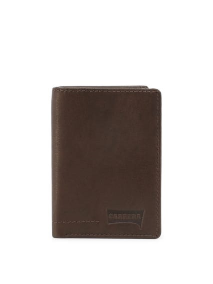 Brown Leather Logo Bi Fold Wallet