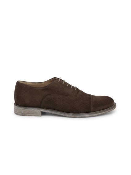 Brown Suede Perforated Lace Up Shoes
