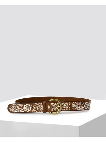 Brown Embossed Details Belt