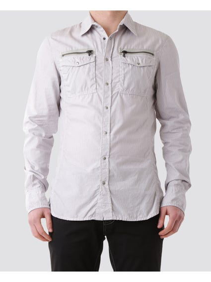 Grey Long Sleeves Zip Shirt