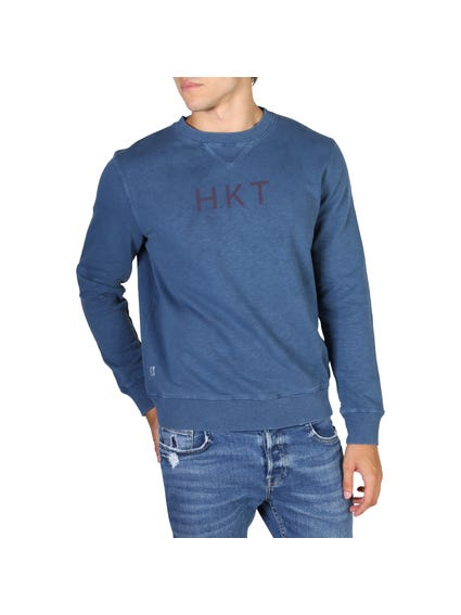 Blue Hems Ribbed Sweatshirt