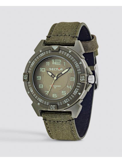 Green Fabric Strap Analog watch