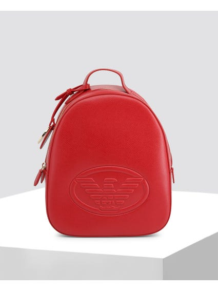 Red Textured Embossed Rucksack Bag