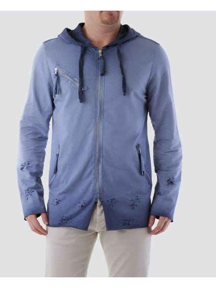 Blue Tattered Below and Draw String Hoodie