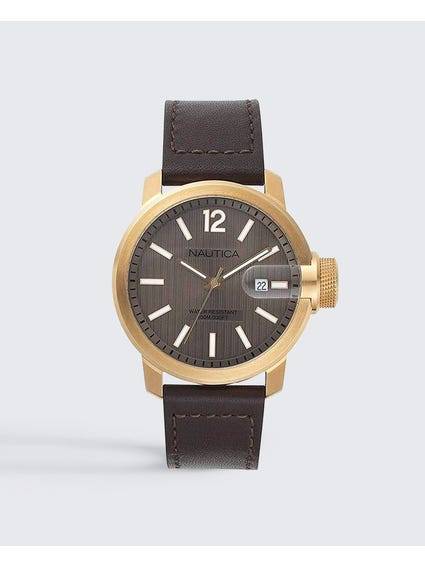 Leather Strap Brown Dial Watch