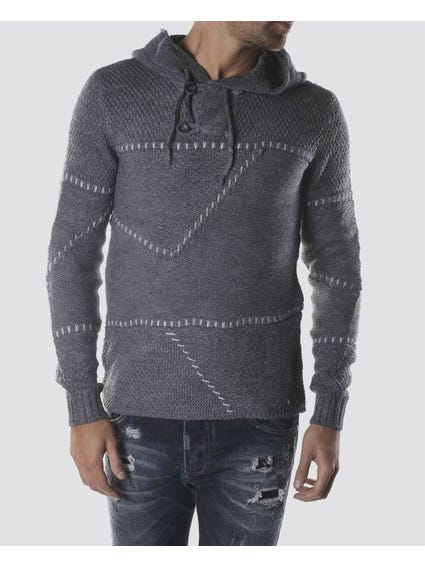 Grey Knitted Hoodie Sweater
