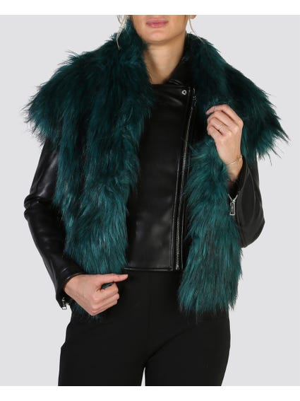 Long Faux Fur Detailed Bomber Jacket