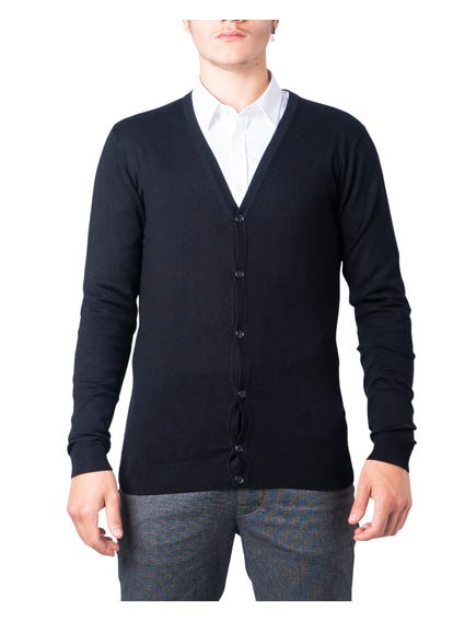 Black Longsleeve  Plain Button Gilet