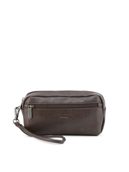Brown Round Zipper Leather Clutch Bag