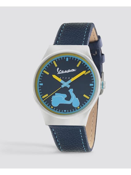 Blue Irreverent Leather Watch