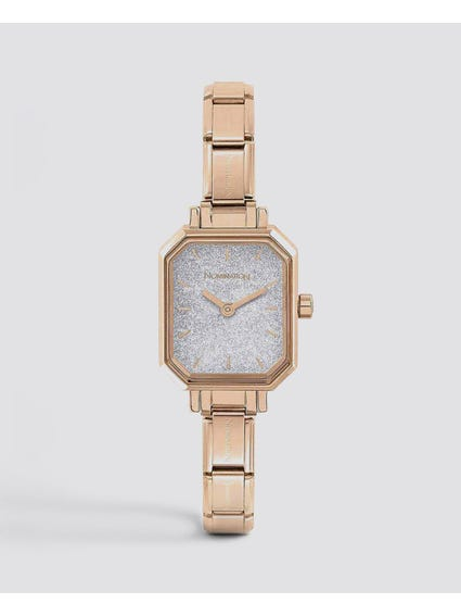 Classic Paris Silver Glitter Analog Watch