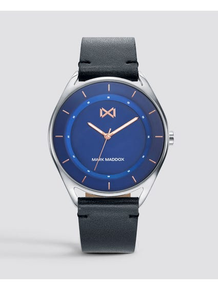 Blue Dial Leather Quartz Watch