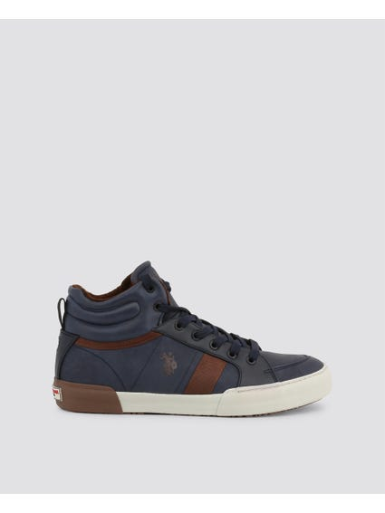 Blue Arman Two Tone High Cut Sneakers