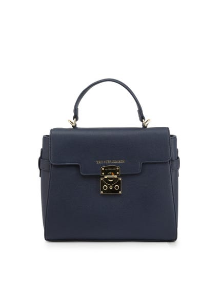 Navy Blue Leather Hand Bag
