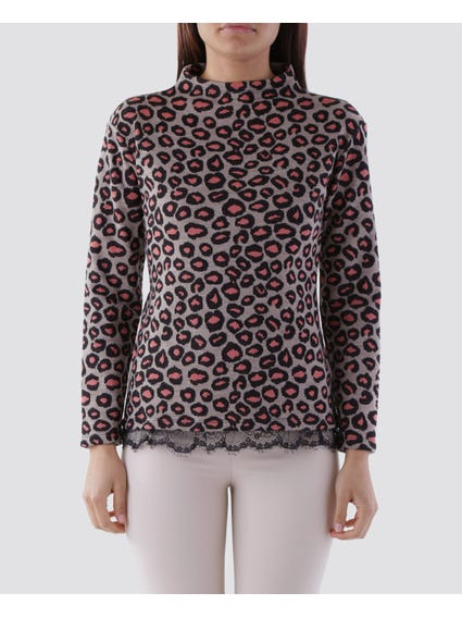 Printed Lace Inserted Top