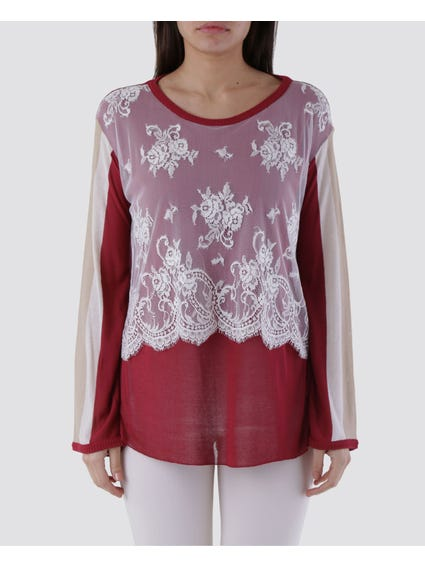 Floral Mesh Overlay Top