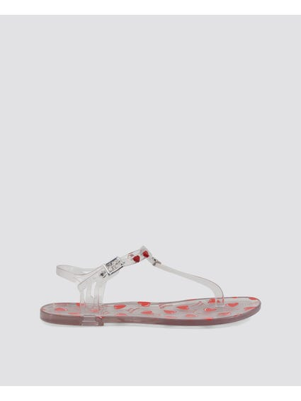 White Rubber Flat Sandals