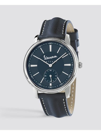 Piccolo Secondo Blue Dial Leather Watch
