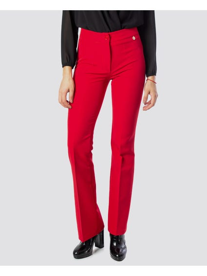 Red Plain Flare Trouser