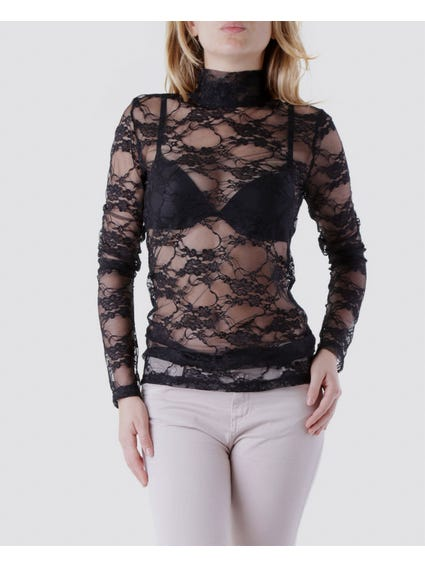 Turtleneck Long Sleeve Lace Top